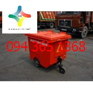 Xe đẩy rác 660L bánh nhỏ